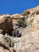 Rock Climbing Photo: Emma belaying above pitch 1