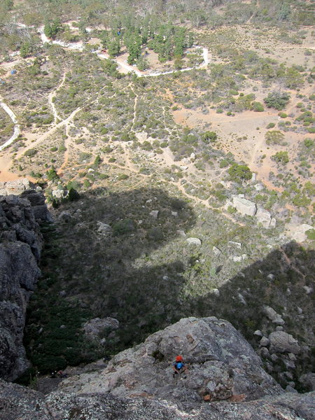 Looking down from atop pitch 3