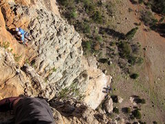 Rock Climbing Photo: Below the airy belay of pitch 2