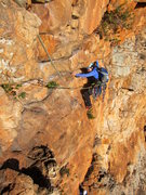 Rock Climbing Photo: Emma traversing with her head above her ass
