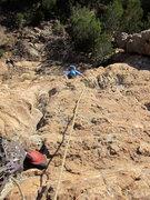 Rock Climbing Photo: Emma coming up pitch 1