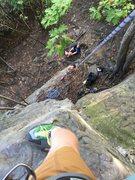 Rock Climbing Photo: Hippie Dreams looking down.