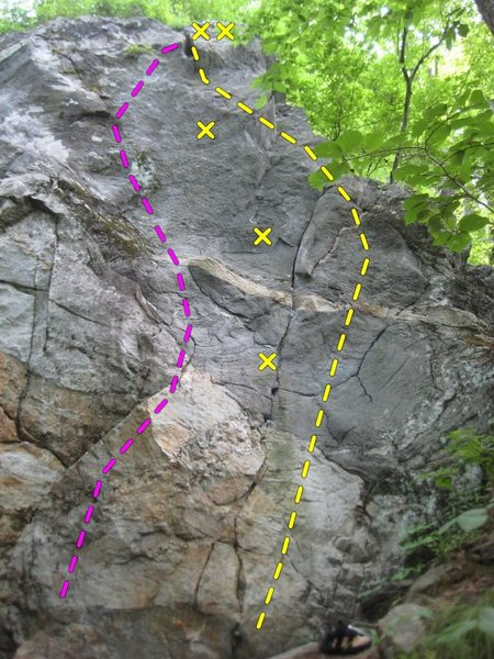 Rock Climbing Photo: this shows the lines. Pink is middle Man and yello...