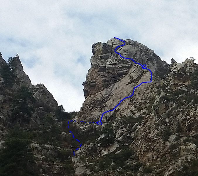 East Face of Low Horn #6. The Spike visible left of the gully.