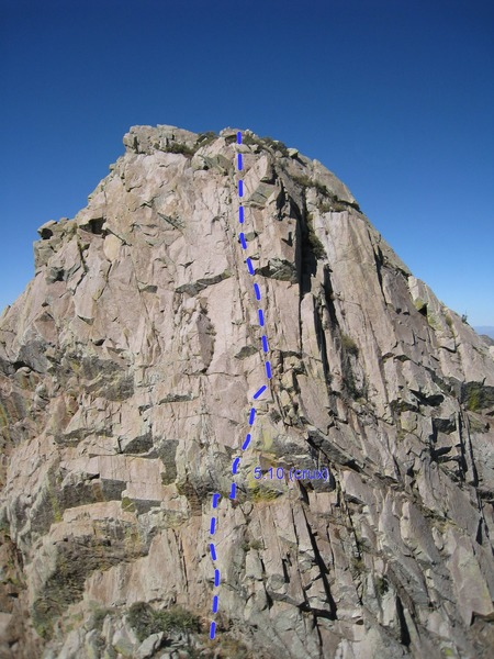 Rock Climbing Photo: South Face of Low Horn #1 with Topo Overlay