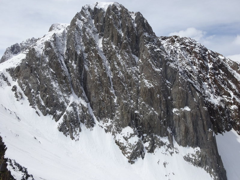 The north face of Mount Morrison in winter.