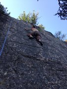 """slab to the left of the main crag.  we had to settle for this set-up because everything else we wanted to get on was taken.  Therefore, I shall call it """"sloppy seconds slab""""."""