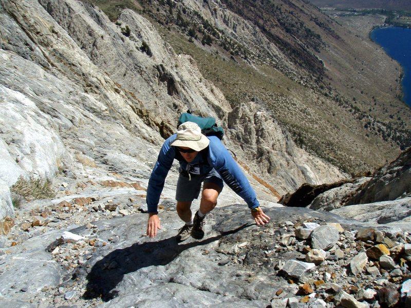 Scrambling Laurel Mt., action shot.