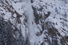 Rock Climbing Photo: Lone Solo Climber on Guinness Gully Dec 17th 2015
