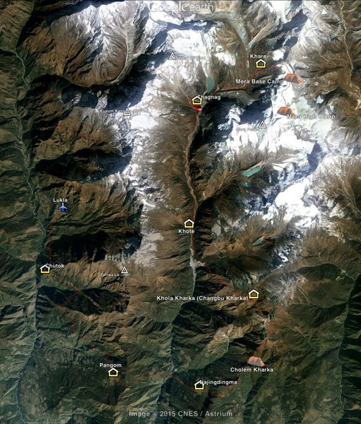 Rock Climbing Photo: Route from Lukla to Mera Peak summit with camp loc...