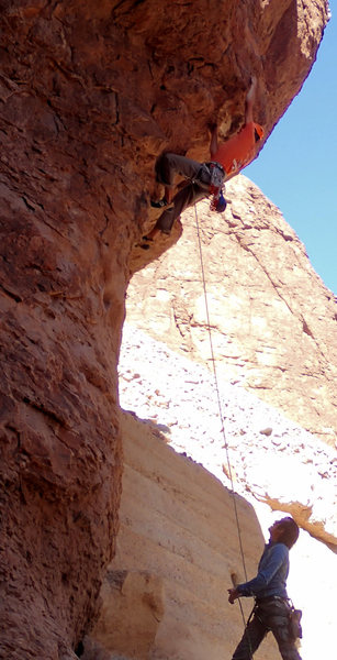 Rock Climbing Photo: High first bolt. Consider stick clipping.