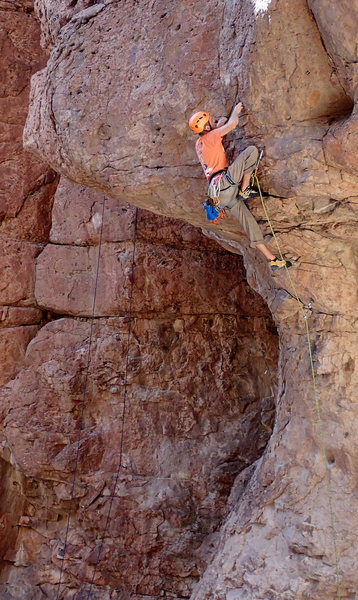 Working the crux.