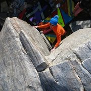 "Rock Climbing Photo: Allison on ""Too Good to be American"" (V3..."