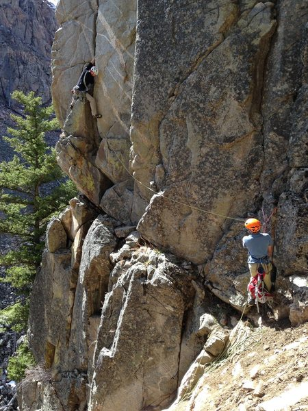 Rock Climbing Photo: Climber & Belayer on 'More Desire than Fire'