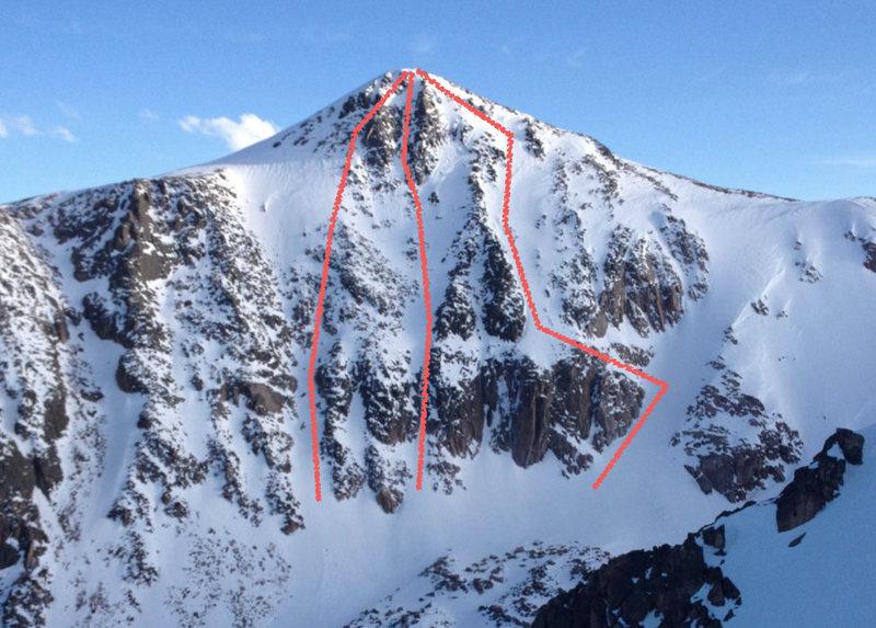 Rock Climbing Photo: Possible lines up Hallett Peak.