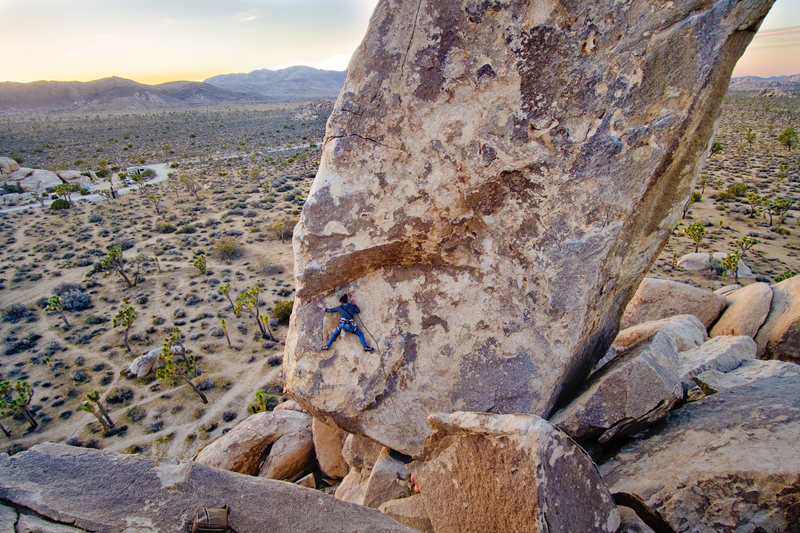 Joyce Palmese traverses the exposed slab on the classic South West Corner of Headstone.