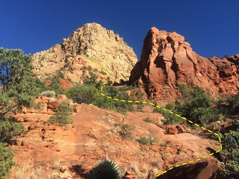 Rock Climbing Photo: This is a rough outline of the trail up to Sedona ...
