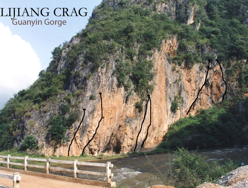 Routes at mouth of Guanyin Gorge, south of Lijiang. A project (ca. 2004) has been bolted upstream (right) out of sight.