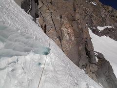 Rock Climbing Photo: u notch bergschrund - Late May in Dry snow year.