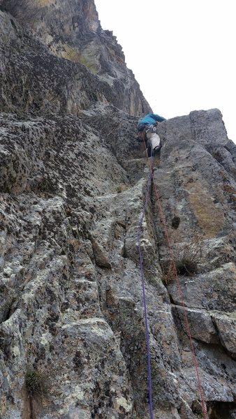 Rock Climbing Photo: P1, John Hymer Leading
