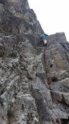 Rock Climbing Photo: P1, John Hymer Leading