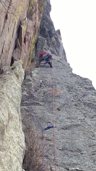Rock Climbing Photo: P2, Stefan leading
