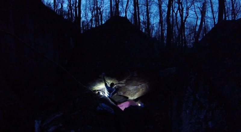 Rock Climbing Photo: Taking advantage of great night conditions. Workin...