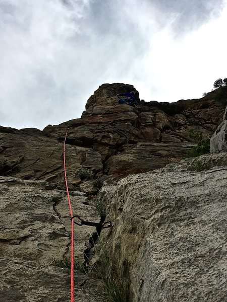 Matty headed up 10a arete. Two bolt lines on this route. We took the right line.