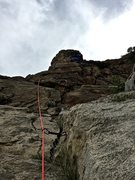Rock Climbing Photo: Matty headed up 10a arete. Two bolt lines on this ...