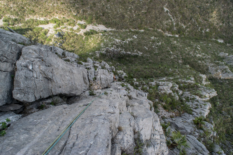 Rock Climbing Photo: Looking down the combined pitches of 5 and 6