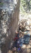 Rock Climbing Photo: Johnny matching the sloper
