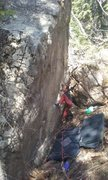 Rock Climbing Photo: Johnny hand foot matching