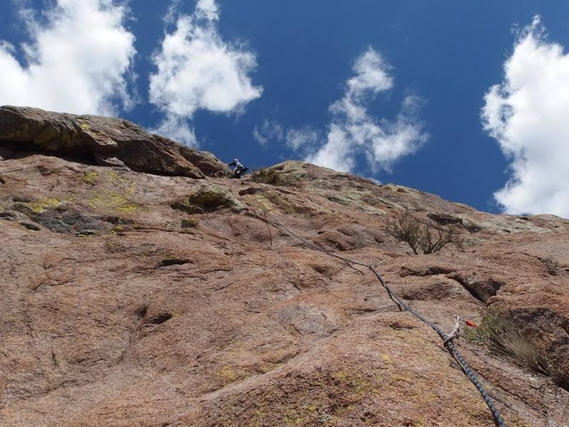 higher on P5, nearing the crux, photo by Kurt Johnson