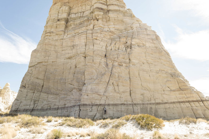 Rock Climbing Photo: Roy Suggett cleaning P1.