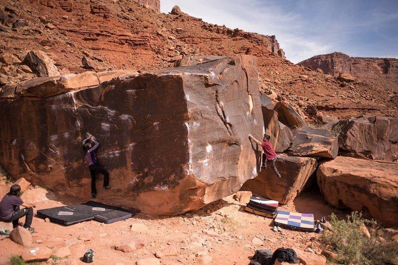 Sierra Deegan and John Vigil on the black box boulder!