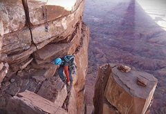 Rock Climbing Photo: John Schmidt topping out on the last pitch of the ...