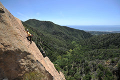 Rock Climbing Photo: Alex Degolia leads the upper headwall of Fun in th...