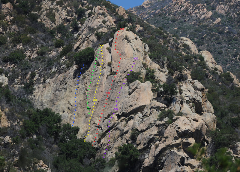 Fun in the Sun Wall, Rattlesnake Canyon<br> Blue - Written exam (5.9 PG-13)<br> Green - King Snake Crack (5.7 PG-13)<br> Yellow - Tender Flakes (5.8)<br> Red - Fun in the Sun (5.8 R)<br> Purple - Ugly Duckling (5.9)<br>