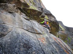 Rock Climbing Photo: Jon Pobst leading the short traverse to get to the...