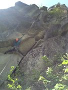 Rock Climbing Photo: Getting started on quarry. Pull steep bulges on go...
