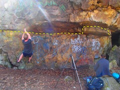 Rock Climbing Photo: Tim getting the first on the Monkey Shuffle Traver...