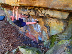Rock Climbing Photo: Tim pulling the roof after the heel hook on the se...