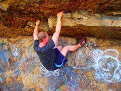 Rock Climbing Photo: Tim pulling the second crux on Monkey Shuffle Trav...