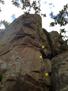 Rock Climbing Photo: Climb starts with blocky liebacks on the right, th...