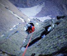 Rock Climbing Photo: Top Pitch of Stettners...September and chilly