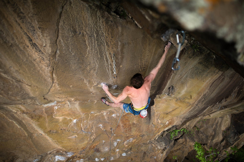 Sticking the crux<br> <br> <br> Photo: Tyler Casey<br>