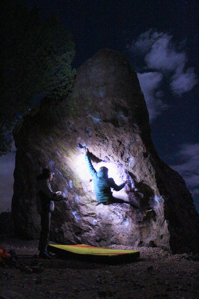 Night climb on Unbeatable Boulder. April 2016.