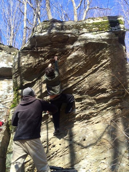 Rock Climbing Photo: Trying the highball boulder