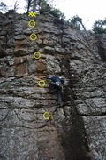 Rock Climbing Photo: Most of the route.  The ground is just below the b...