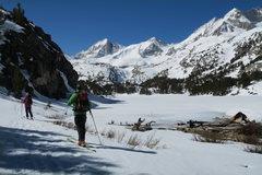 Rock Climbing Photo: Skinning past Long lake in winter.